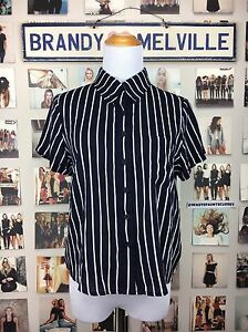 3bb1525c07644 Image is loading New-Brandy-melville-White-Blue-Striped-Peyton-Collar-