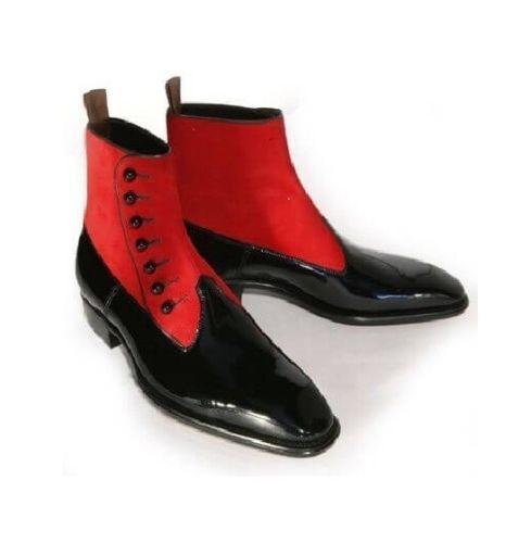 Uomini Nuovo Fatto Cap a mano fashion elegante Cap Fatto Toe Rosso E Nero Stivali Alti Alla Caviglia 1755d4