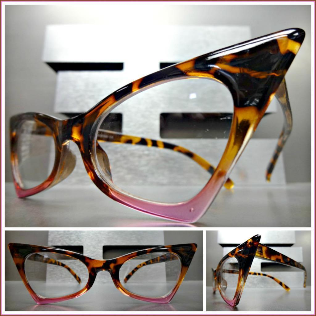 Exaggerated Retro Cat Eye Style EYE GLASSES Pointy Tortoise & Pink Fashion Frame