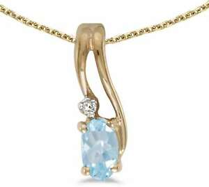 10k-Yellow-Gold-Oval-Aquamarine-amp-Diamond-Wave-Pendant-Chain-NOT-included