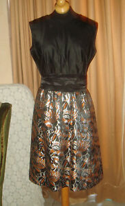 60s brocade satin classic mod dolly dress metallic party prom cocktail
