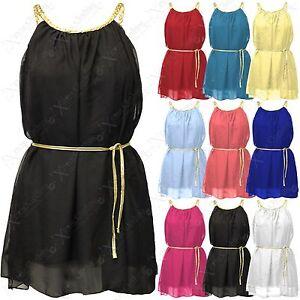 WOMEN-LADIES-CHIFFON-GRECIAN-GOLD-ROPE-TOP-BELT-DRESS-MINI-DRESSES-SKATER-SKIRT