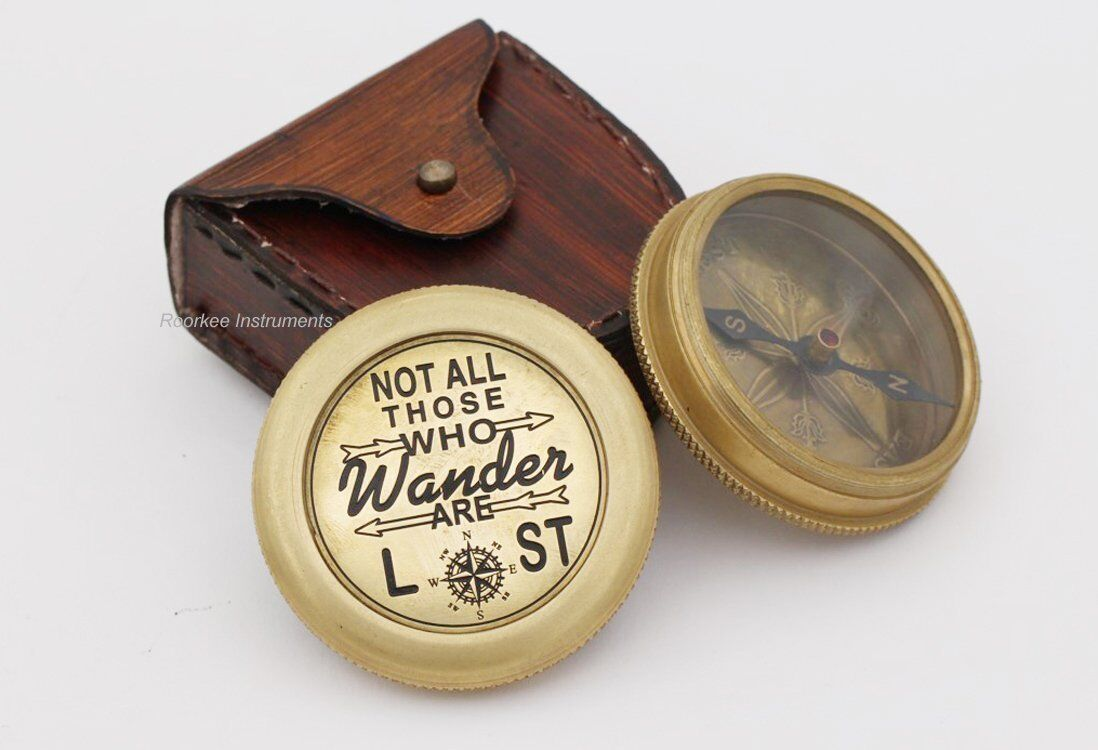 Complete Quote of  J.R.R Tolkien Not all those.. Brass Compass with Case  looking for sales agent