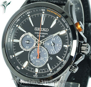New-SEIKO-SOLAR-BLACK-CHRONOGRAPH-BLACK-FACE-WITH-LEATHER-BUCKLE-STRAP-SSC499P1