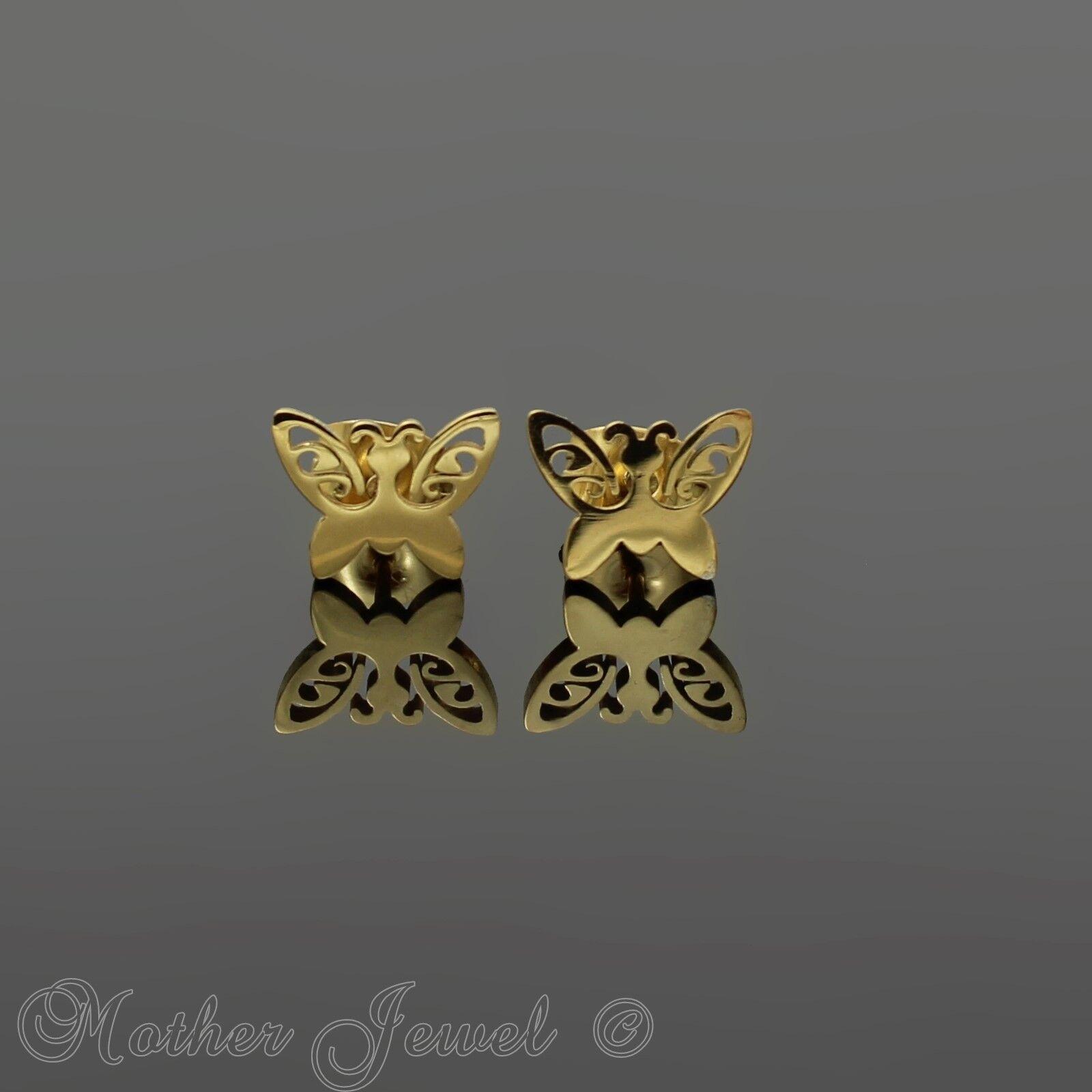 FILIGREE BUTTERFLY ANIMAL STUD YELLOW GOLD TRIPLE PLATED WOMENS STUD EARRINGS