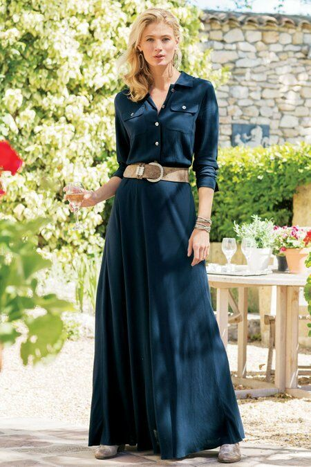 Soft Surroundings Savanna Navy Blau Crinkle Knit Shirt Maxi Dress S 4 6