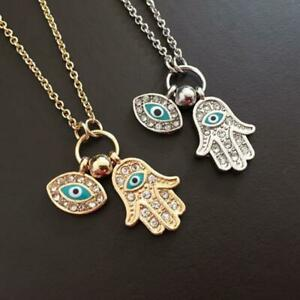 Encanto-de-mal-de-ojo-para-mujer-Hamsa-Fatima-Hand-Classic-Silver-Gold-Necklace