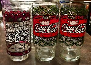 1970-039-s-VINTAGE-COCA-COLA-TIFFANY-STYLE-STAINED-GLASS-TUMBLERS-Lot-of-3