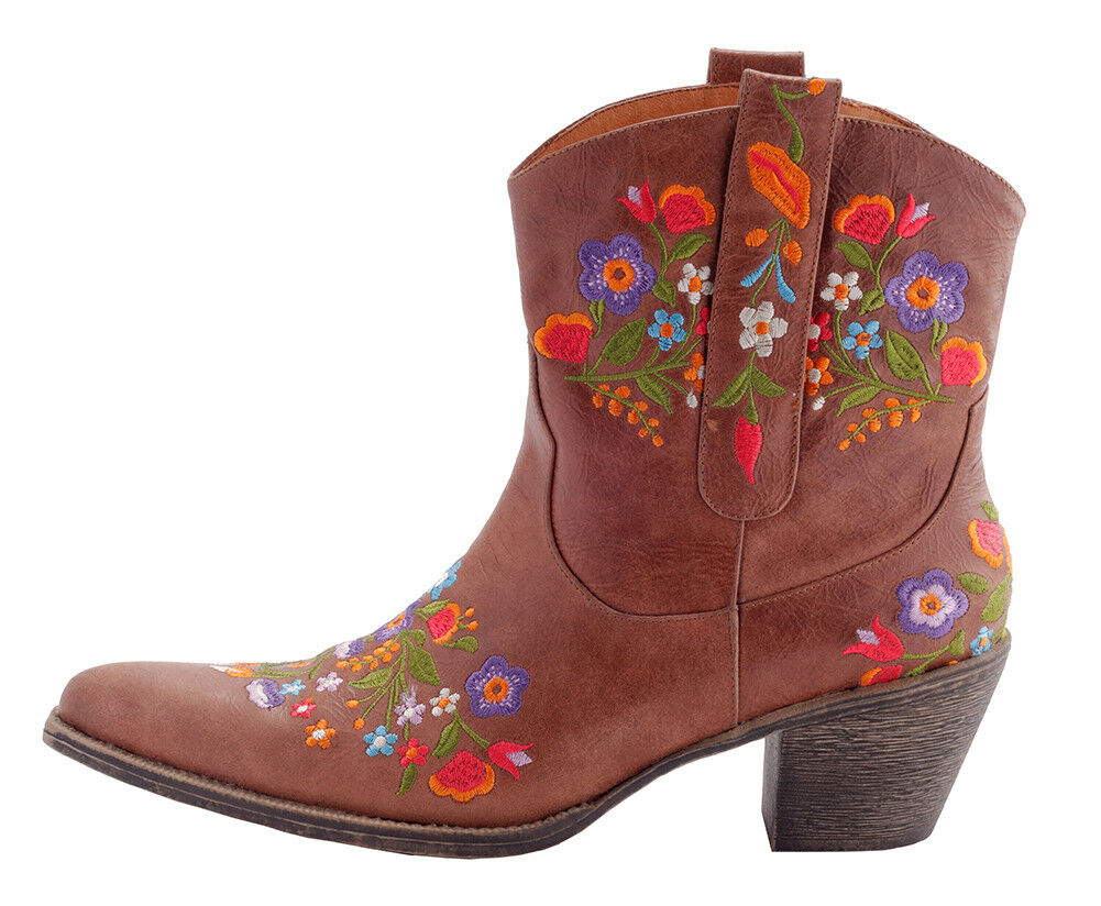 Leather Leather Leather Floral Stitch Boot, Size 7, Cowboy boot, Leather boots, Floral Pattern a21eba