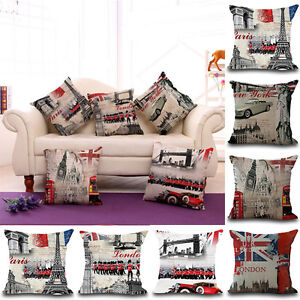 18 Vintage London New York City Cushion Cover Linen Pillow Case
