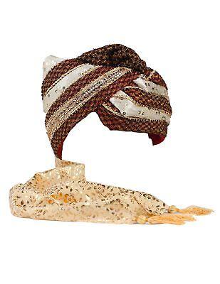 Indian Chunri Silk Safa Turban Wedding Hat w// Scarf Tail-Great Halloween Costume