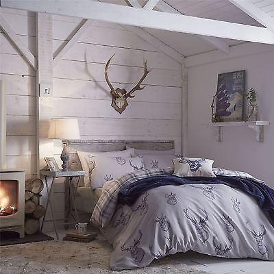 Catherine Lansfield Stag Deer Brown Navy Tartan Duvet Quilt Cover Bedding