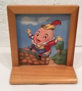 Details About Vintage Humpty Dumpty Picture Framed Nursery Rhyme Decor Primary Colors