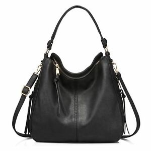 04ca6ff88538 Women Large Hobo Handbags Leather Purse Shoulder Vintage Bucket Bag Ladies  Black
