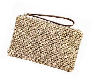 769477054d986 Details about Hycurey Straw Zipper Clutch Bag Bohemian Wristlet Womens  Summer Beach Sea Purse