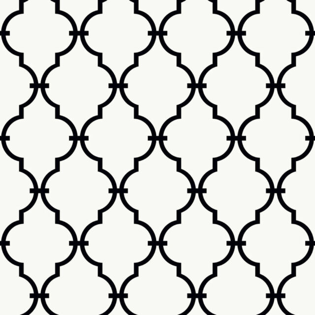 York Wallcoverings Black White K A Boo Trellis Geometric Pattern Wallpaper