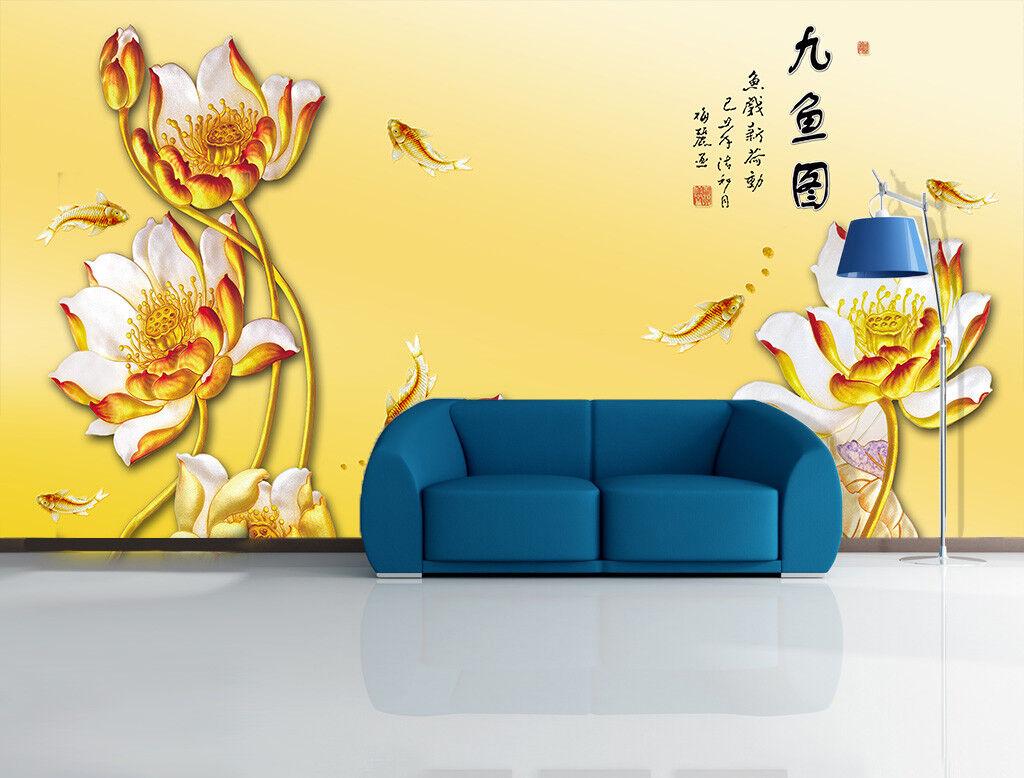 3D Golden Lotus Fish 7 Wall Paper Murals Wall Print Wall Wallpaper Mural AU Kyra
