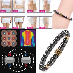 Magnetic-Hematite-Stone-Beads-Bracelet-Bangle-Weight-Loss-Health-Care-E