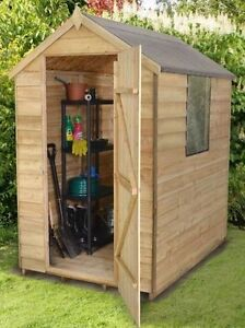 image is loading 6x4 pressure treated wooden garden shed new un