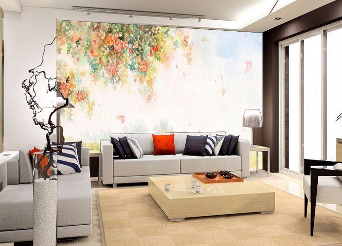 3D Romantic and Fresh Watercolor Paper Wall Print Decal Wall Deco Indoor Murals