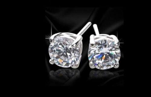 PAIR MEN BOY SILVER PLATED DIAMOND CUT CRYSTAL EAR STUDS EARRINGS EARRINGS BLING