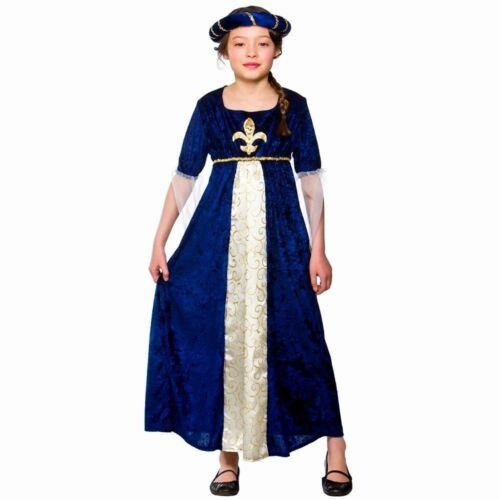 Bambino Tudor Principessa Blu Costume Ragazze Bambini Medievale Regale età 3-13