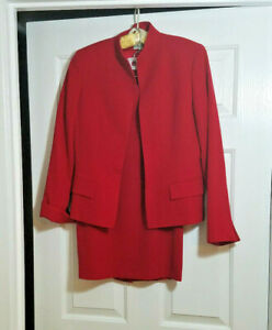 Austin Reed Women S Red 2 Piece Skirt Suit Separates 100 Worsted Wool Size 4 Ebay