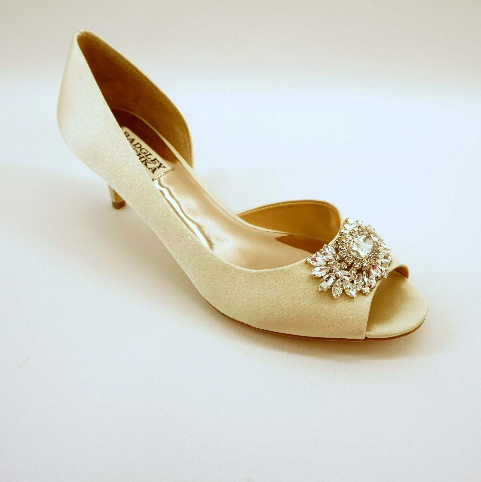 Badgley Mischka Women shoes Macie Open Toe Embellished Mid Heel Ivory 9M  225