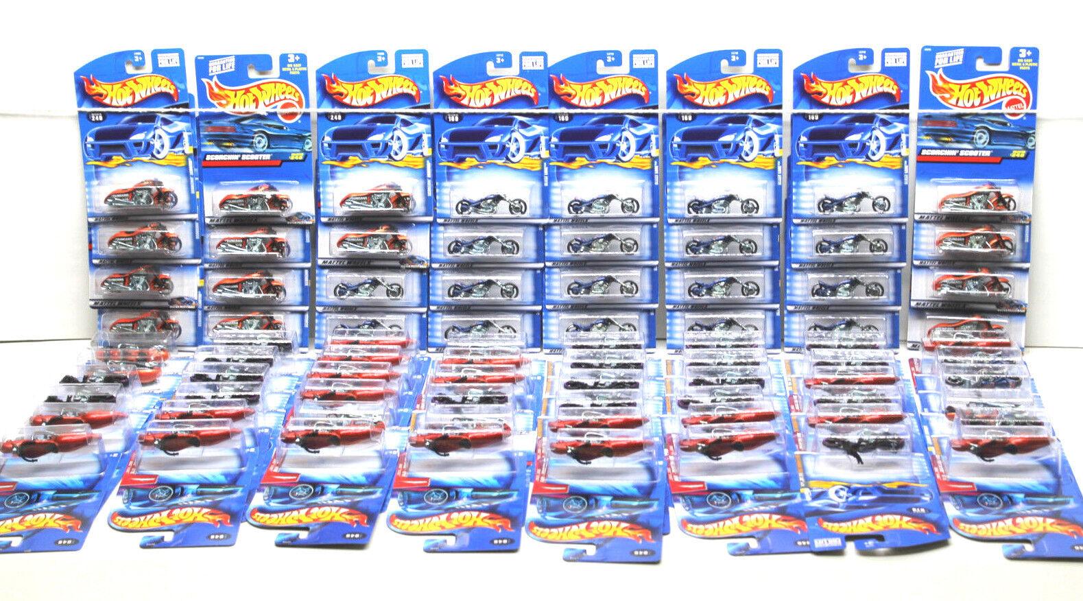 80 pc Hot Wheels Die Cast Motorcycle Scooter Lot Mattel 1999-2003 NOC Blast Lane