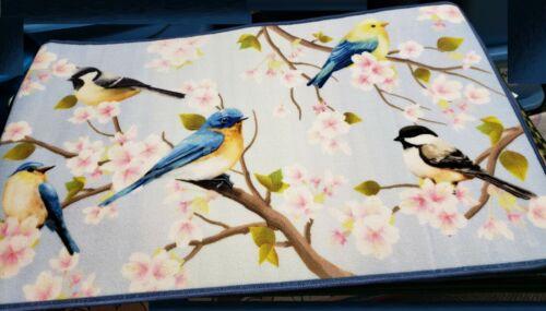 """27/""""x 45/"""" CE nonskid back EXTRA LONG PRINTED NYLON RUG RUNNER BIRDS /& FLOWERS"""