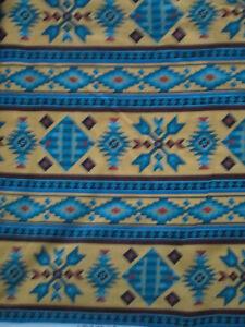Navajo-Native-American-Beaded-Like-Floral-Yellow-Border-Print-Cotton-Fabric-FQ