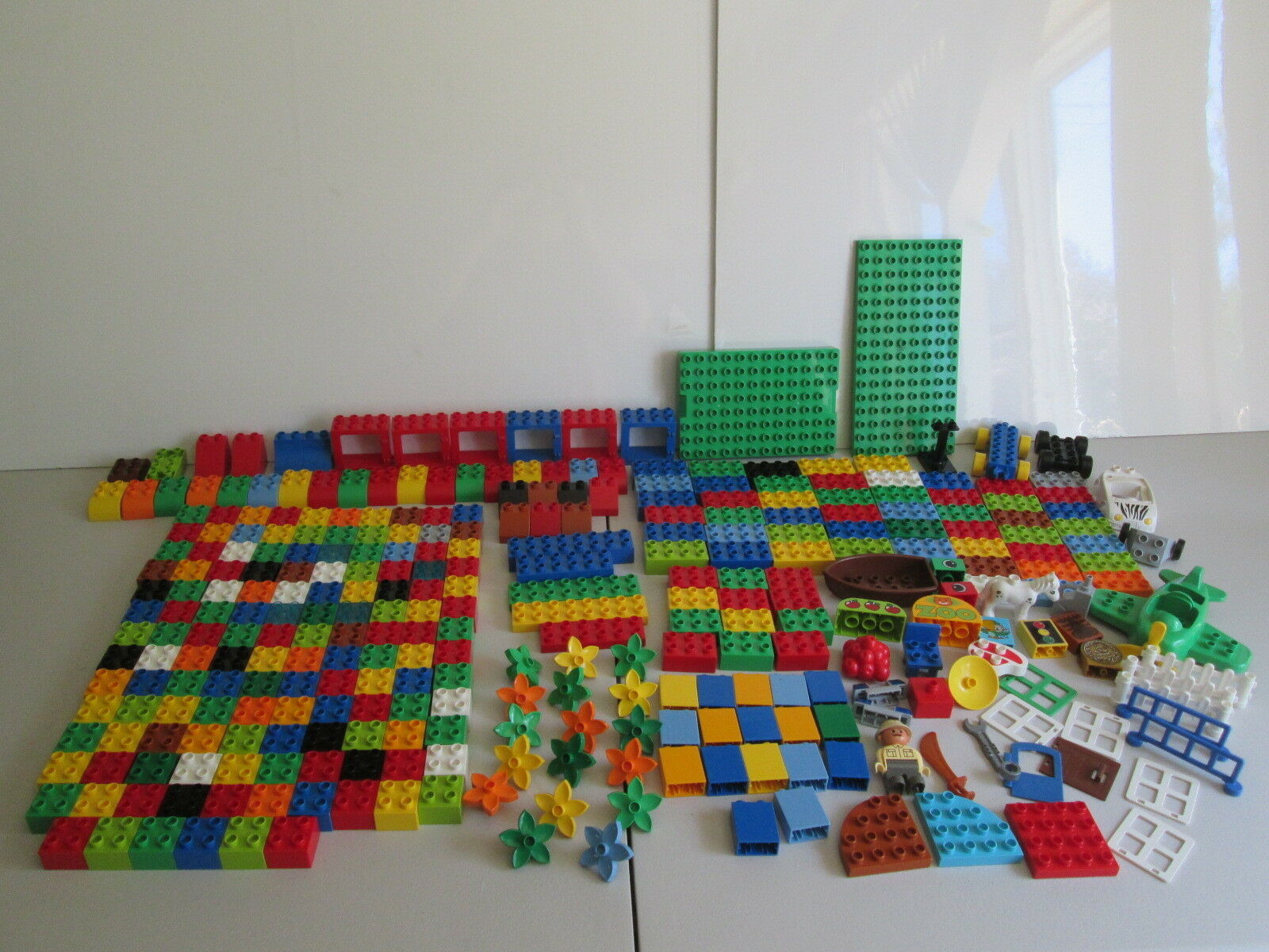 Lego Duplo Huge Lot 300+ Pieces Airplane Cars Police Light Horse Mini Figures