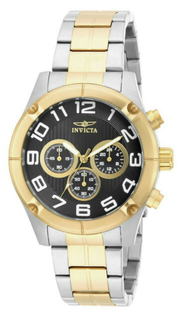 56d6392a1bc Invicta Specialty 15370 Men s Round Black Chronograph Analog Gold Tone Watch