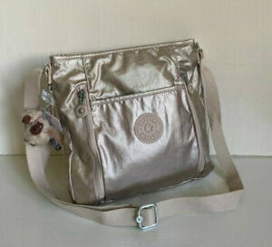 NEW-KIPLING-AXL-SPARKLY-GOLD-METALLIC-CROSSBODY-SLING-MESSENGER-BAG-PURSE-SALE