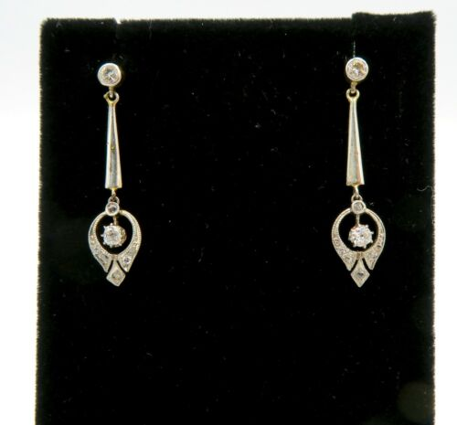 18k Victorian White and Yellow Gold Diamond Drop … - image 1