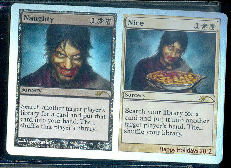 MAGIC  1 CARTE PROMO FOIL HAPPY HOLLIDAYS 2012 NAUGHTY  NICE