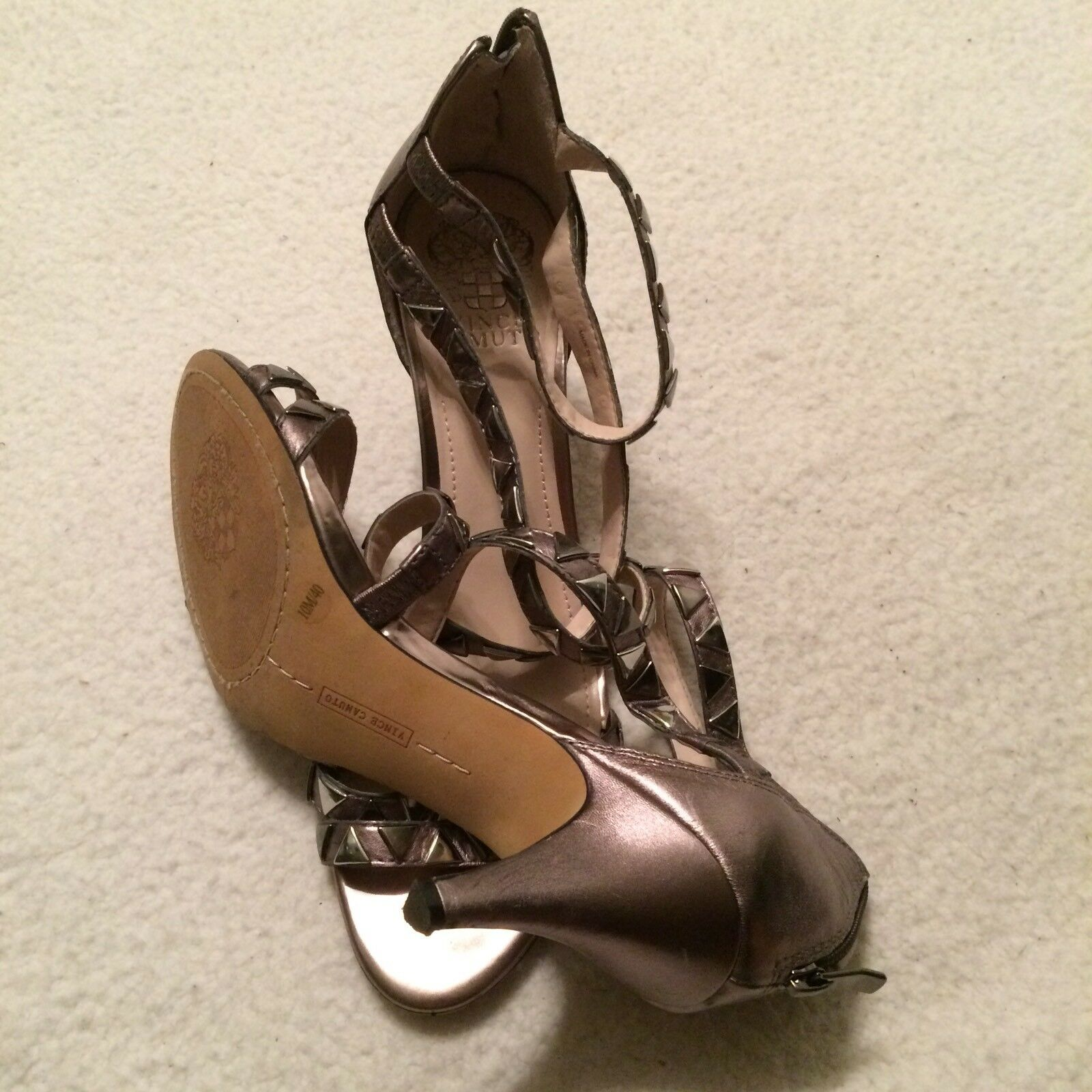 Vince Camuto VC Mikal Leather Leather Leather Strappy Stud Heels damen 10 M STEEL METALLIC NICE dda721