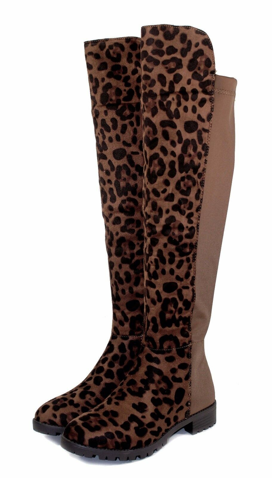Fifty-50 New Fashion Over Knee Zipper Women's Low Heel Suede Boots Brown Leopard