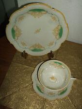 Bavaria sammelgedeck sammeltasse porcelana decorado en relieve crema amarillo verde