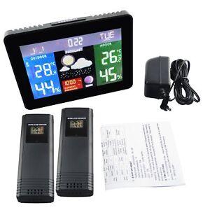 Interieur-Exterieur-Station-Meteo-Thermometre-2-Capteur-Barometre-Temp-Humidite
