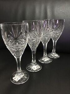 Czech-Bohemia-Cut-Lead-Crystal-Majesty-Wine-Glasses-Set-Of-4-New
