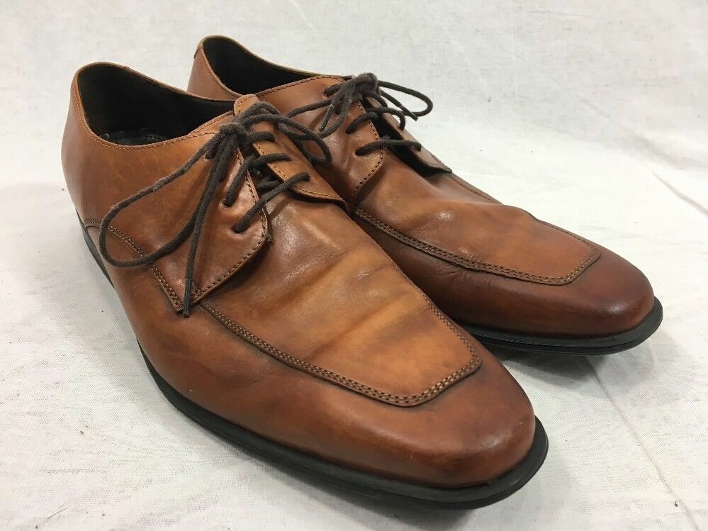 Brown Leather Dress shoes Cole Haan Moc Toe Mens 11.5 M Lace Up Camel Oxfords