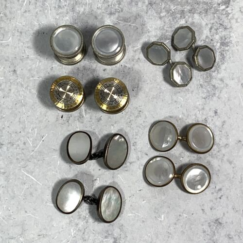 Gift For Him 1920/'s Collectible Cuff Links Fancy Formal Dress Men/'s Man/'s Fathers Day Mother of Pearl Snap Link CUFF LINKS