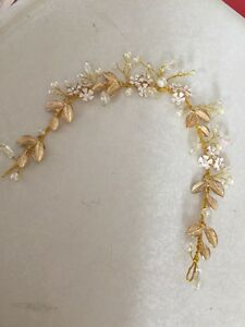 Gold wire leaves diamante ivory pearl hair vine bridal wedding image is loading gold wire leaves diamante ivory pearl hair vine junglespirit Choice Image