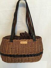 Woven Wicker Straw Box Basket Purse Handbag Jamaican brown lined w/Drawstring