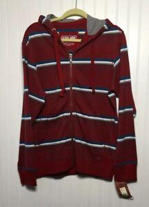URBAN-PIPELINE-UP-NWT-Men-s-Sz-S-Full-Zip-Hoodie-Jacket-Red-Striped-Cotton