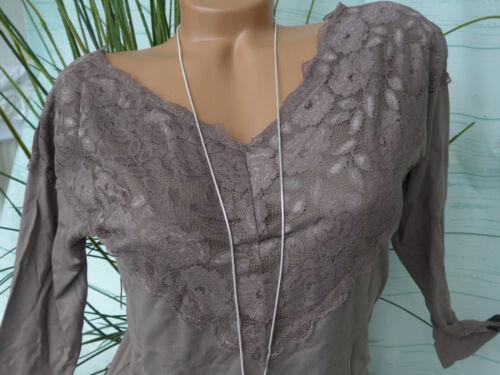 NEU 218 Heine Damen Bluse Shirt 34 bis 44 Taupe mit Spitze