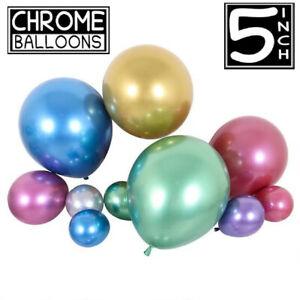 25pcs-5-034-Pouces-Metallique-Pearl-Chrome-Latex-Ballons-pour-Anniversaire-Fete-De-Mariage-UK
