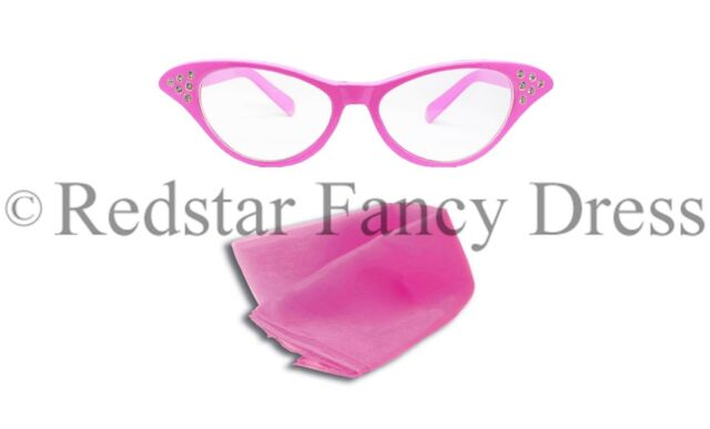1950s Pink Ladies Glasses and Poodle Scarf Fancy Dress Grease Sandy 50s costume