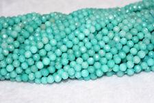 "4mm Faceted Natural Blue Aquamarine GEMSTONES Faceted Round Beads 15 """
